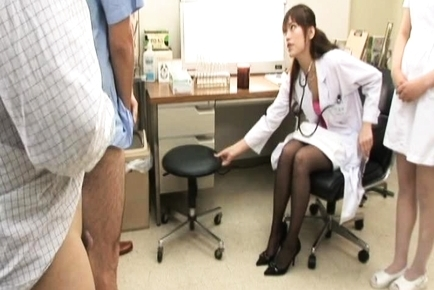 Rika Nagasawa sexy nurse in her uniform and black stockings