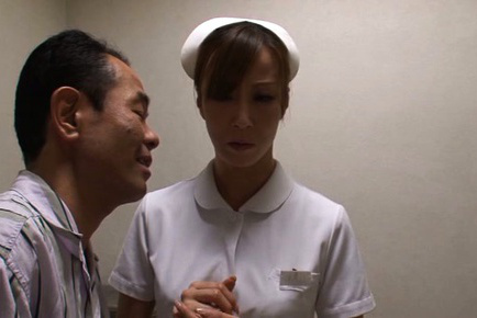 Reiko sawamura. Reiko Sawamura Asian nurse takes patient pants