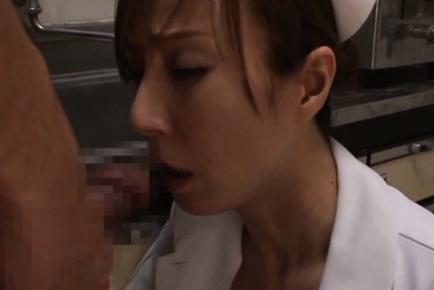 Reiko sawamura. Reiko Sawamura Asian nurse gives fine cock sucking to patient at job