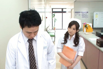 Saya niiyama. Saya Niiyama Asian nurse has cans touched and