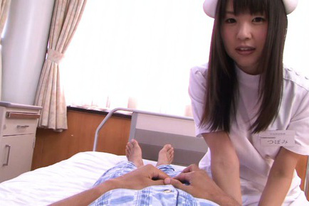 Tsubomi. Tsubomi Asian nurse is naughty and plays with patient nipples