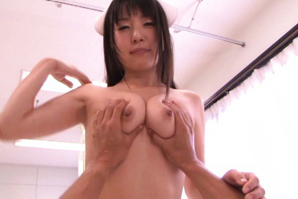 Tsubomi. Tsubomi Asian nurse has hot breasts pressed and hot box