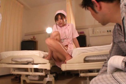 Rina rukawa. Rina Rukawa Asian cleans patient boner and shows him her kitty