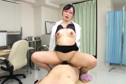 Amateur. Amateur Asian nurse with specs and exposed tits rides phallus