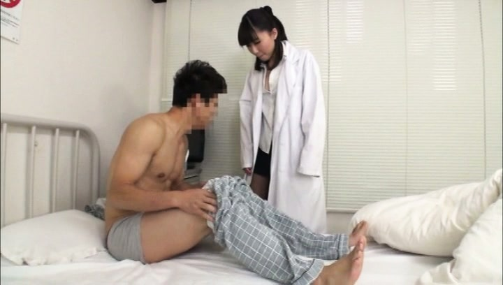 Amateur. Amateur Asian nurse watches patient rubbing his penish for her
