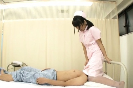 Amateur. Amateur Asian nurse rides patient mouth with