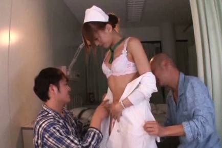 Airi kijima. Airi Kijima Asian nurse is undressed of uniform by lascivious patients